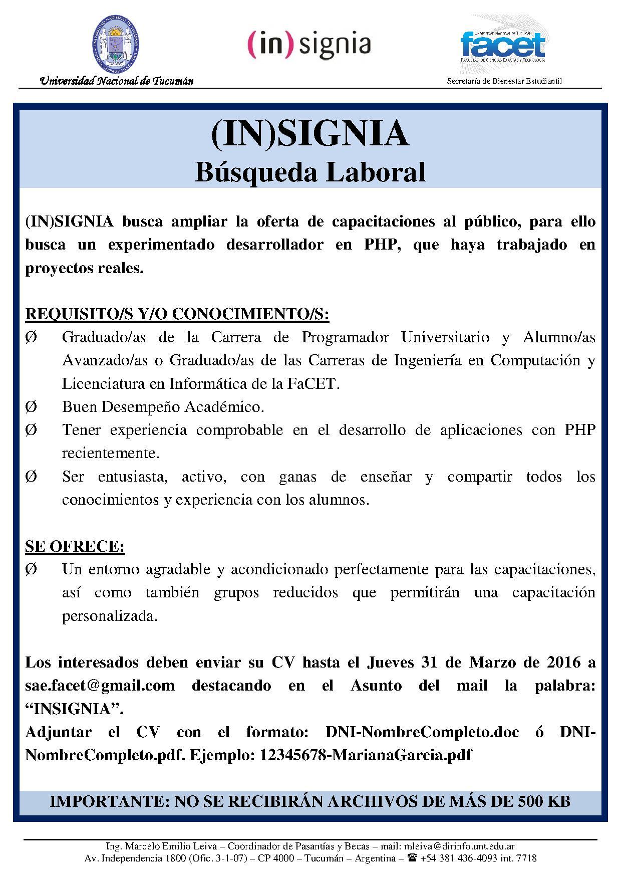 Aviso – Busqueda Laboral – INSIGNIA(1) – Facultad de Ciencias ...